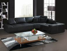 Ledersofa L Form - franco collection modern l shaped leather sofa black