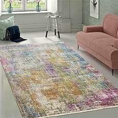 wohnzimmer teppiche teppich shabby chic fransenteppich pastell bunt teppich de