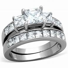 stainless steel never tarnish wedding engagement 2 rings size 5 6 7 8 9 10 ebay