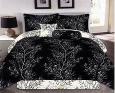 7pc nature dendron branches silhouette reversible comforter black white king ebay
