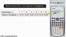 varianz und standardabweichung berechnen mit relativen