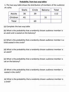 probability questions worksheet with answers 5984 probability from two way tables by kirbybill teaching resources tes