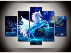 5 Panels Fancy Unicorn Group Artwork   Multi Canvas Art