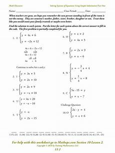 solving linear equations substitution worksheet world of
