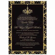 damask wedding invitations black and wedding invitation black damask faux gold foil chandelier