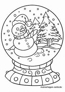 malvorlage schneekugel winter ausmalbilder kostenlos