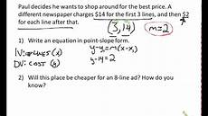 slope intercept word problems worksheet point slope word problems youtube