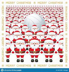 merry christmas a group of santa claus with a volleyball ball funny sports greeting card