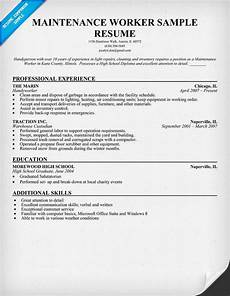 maintenance worker resume sle resumecompanion com resume objective sle resume