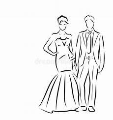 silhouette of and groom newlyweds sketch