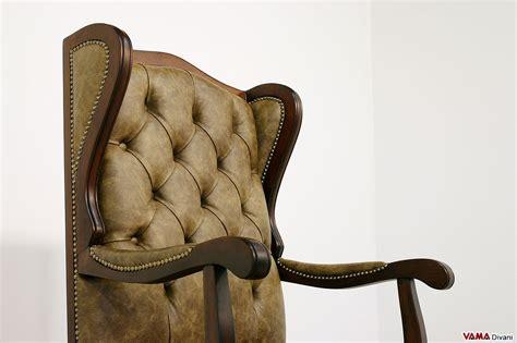 Poltrona Da Ufficio Classica In Vera Pelle Di Design Vintage