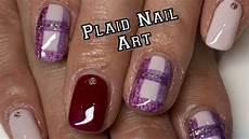 gingham check nail art tutorial gel polish plaid nails