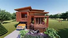 Desain Rumah Kayu Minimalis 8x10m Denah Dan Interior