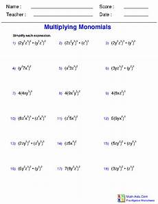 pre algebra worksheets monomials and polynomials worksheets