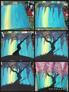 acrylbaummalerei mit q tipps rosa oder purpurroter