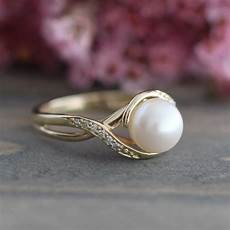 pearl engagement ring in 10k yellow gold infinity diamond wedding band june birthstone ring