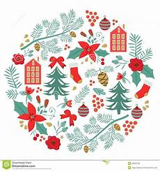 merry christmas round composition stock vector image 48256756