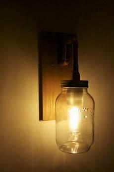jamjar lights wall light solid oak copper pipe and a 1 litre kilner jam jar to order find us