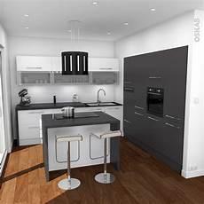 cuisine design avec ilot central blanche et grise oskab