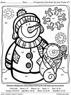 free color by number math worksheets multiplication 16320 winter math multiplication snowflake solutions color by the code printables