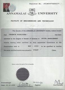 m sc hotel management convocation certificate0001