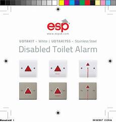 esp udtalbm white disabled toilet alarm light and buzzer module with led audible alert 80db