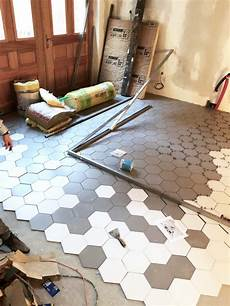 Pose Carrelage Hexagonal Gris Blanc