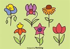 Blumen Malvorlagen Kostenlos Bearbeiten Gezeichnete Blumen Sammlung Vektoren