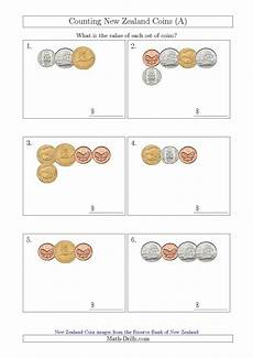money rupees worksheets 2309 counting small collections of new zealand coins a maths money worksheets rupees counting coins