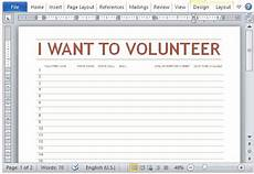 volunteer sign up sheet template for word