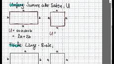 fl 228 che und umfang quadrat und rechteck