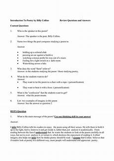 poetry analysis worksheet with answers 25533 introduction to poetry by billy collins review questions and answers
