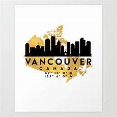 vancouver canada silhouette skyline map art map art world map painting vancouver canada