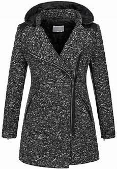warm womens winter wool coat melierter wool parka jacket