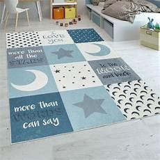 Sternen Teppich Kinderzimmer - kinderteppich jungen mond sterne blau teppich de