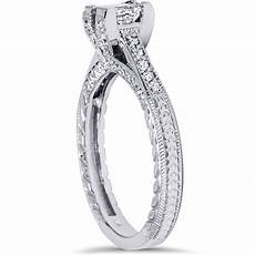1ct princess cut vintage diamond engagement ring accent 14k white gold ebay