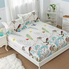 new floral bird print fitted sheet with elastic 100