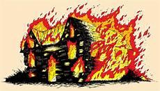 Malvorlage Brennendes Haus Brennendes Haus Vektor Abbildung Illustration Feuer