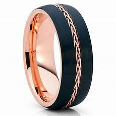 8mm rose gold tungsten black wedding band braid ring