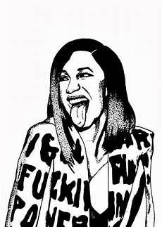 paperfoxnl cardi b black and white fineliner and