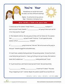 grammar worksheets for everyone 24767 you re and your grammar worksheets reading worksheets education