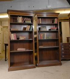 pair regency open front bookcases mahogany bookcase shelf
