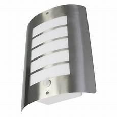 avon 60 watt ip44 outdoor wall light with pir stainless steel qvs direct
