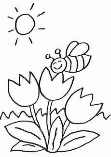 Blumen Zum Ausmalen Malvorlagen Kostenlose Malvorlage Blumen Biene Auf Der Blume Zum Ausmalen