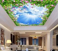 flower wallpaper ceiling custom photo non woven 3d ceiling murals wallpaper flowers