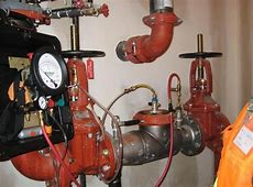 """Ames 4"""" Silver Bullet backflow assembly on a fire"""