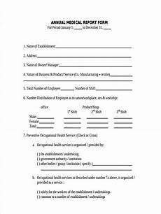annual medical report form dole free 7 medical report forms in pdf