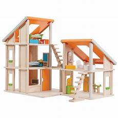 plan toy chalet doll house with furniture chalet wooden dollhouse with furniture plantoys earthhero