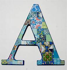Decorative Letter A Collaged Wall Decor A Nursery Blue