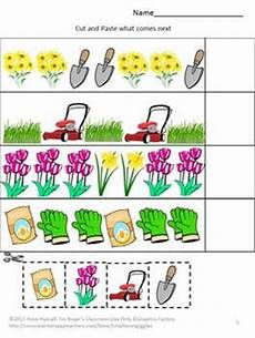 picture pattern worksheets for kindergarten 344 cut and paste flowers garden and worksheets on